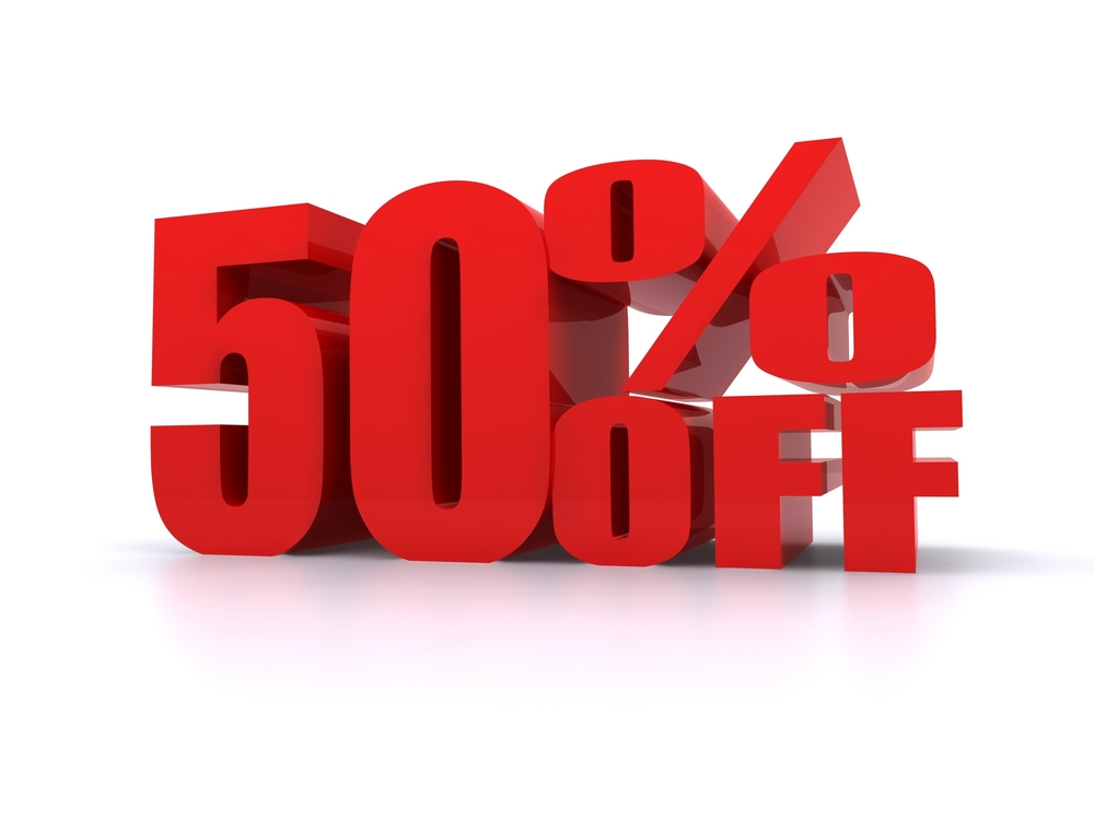 Online shopping 50 percent off