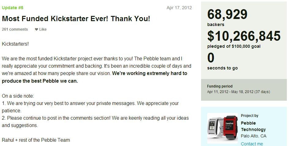 Ucapan Terima kasih - Kisah Sukses Pebble, Modal Bisnis dari Situs Crowfunding