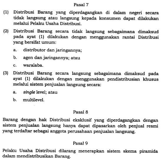 Skema Piramida Dilarang, Nasabah Terlindungi UU Perdagangan pasal 7 8 9