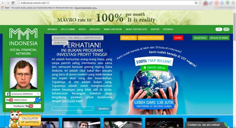Situs MMM Diblokir OJK - Tampilan Home MMM Indonesia