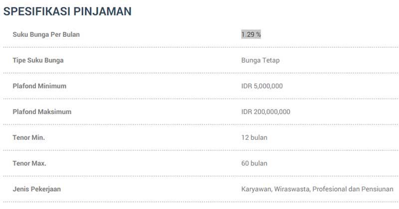 Spesifikasi Pinjaman - Tampilan Website DuitPintar (dot) Com - Kredit Tanpa Agunan (KTA)