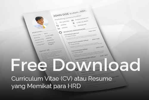 free download curriculum vitae  cv  atau resume yang