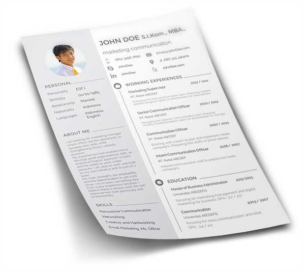 free download curriculum vitae cv atau resume
