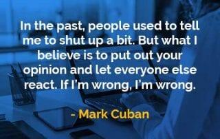 Kata-kata Bijak Mark Cuban Mengeluarkan Pendapat - Finansialku
