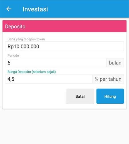 Investasi (Menghitung Deposito) Aplikasi Finansialku 3