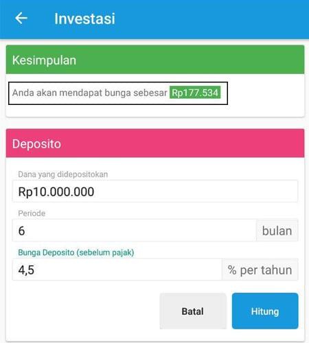 Investasi (Menghitung Deposito) Aplikasi Finansialku 4