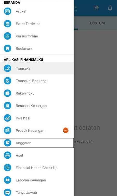 Membuat Anggaran Aplikasi Finansialku