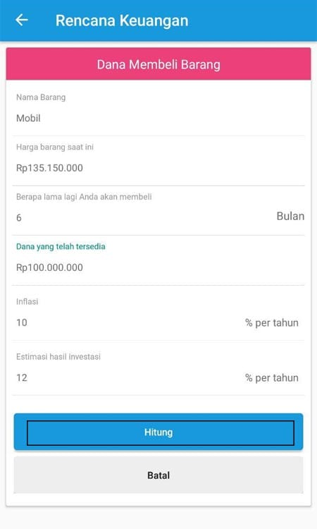 Merencanakan Keungan (Dana Membeli Mobil) Aplikasi Finansialku 3
