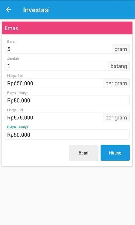 Simulasi Investasi Emas Aplikasi Finansialku 2