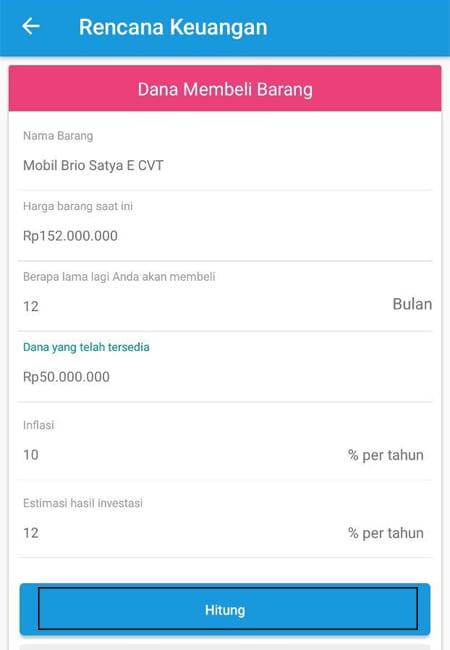 Dana Membeli Barang (Mobil) Aplikasi Finansialku 02