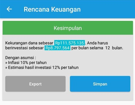 Dana Membeli Barang (Mobil) Aplikasi Finansialku 03