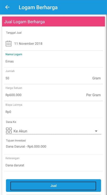 Menjual Investasi Logam Berharga Aplikasi Finansialku 3