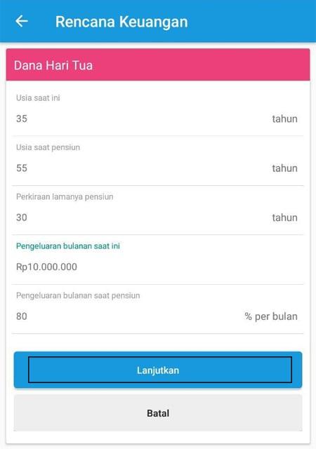 Rencana Keuangan Dana Hari Tua Aplikasi Finansialku 1