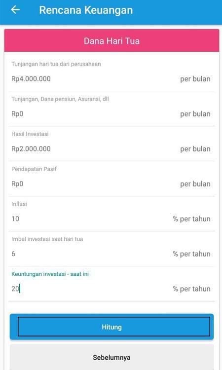 Rencana Keuangan Dana Hari Tua Aplikasi Finansialku 2