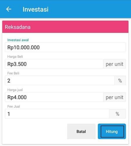 Simulasi Perhitungan Investasi Reksa Dana Aplikasi Finansialku 2