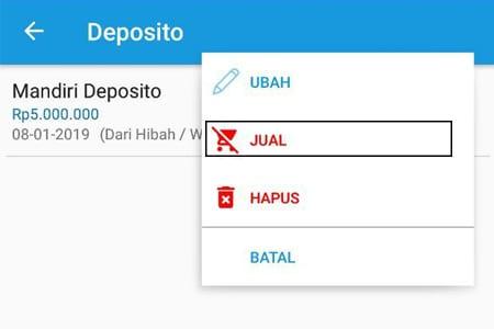 Investasi Deposito (Jual) Aplikasi Finansialku 2