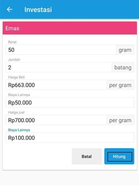 Investasi Emas Kalkulator Aplikasi Finansialku 2