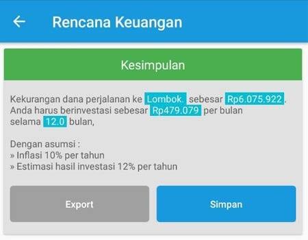 Rencana Keuangan Dana Liburan Aplikasi Finansialku 2