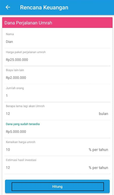 Rencana Keuangan Dana Perjalanan Umrah Aplikasi Finansialku 2