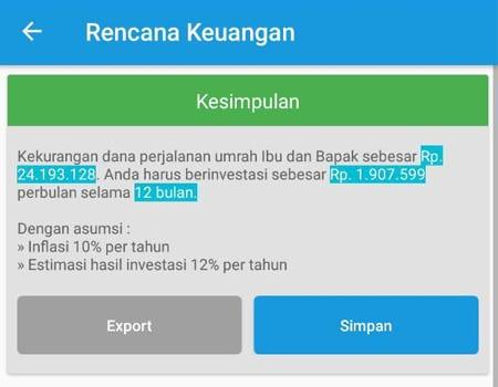 Rencana Keuangan Dana Perjalanan Umrah Aplikasi Finansialku 3