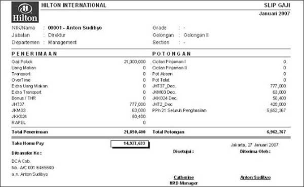 10+ Contoh Slip Gaji Karyawan Perusahaan 05 Slip Gaji Karyawan Hotel - Finansialku