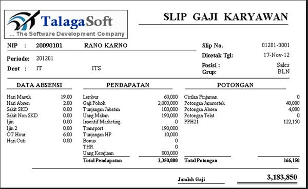 10+ Contoh Slip Gaji Karyawan Perusahaan 10 Slip Gaji Karyawan Toko - Finansialku