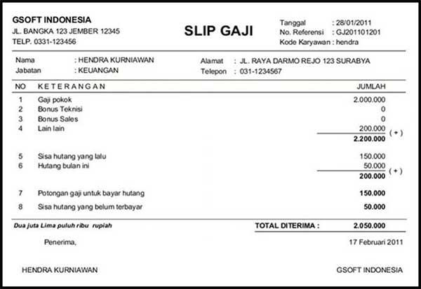 10+ Contoh Slip Gaji Karyawan Perusahaan 12 Slip Gaji Perusahaan - Finansialku