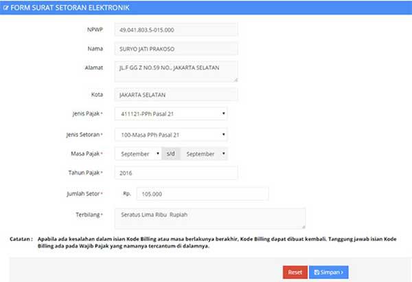 Bayar Pajak Online Melalui E-Billing Ternyata Mudah! 06 Form Surat Setoran Elektronik - Finansialku