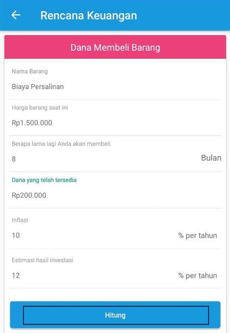Rencana Keuangan Dana Membeli Barang Aplikasi Finansialku 2