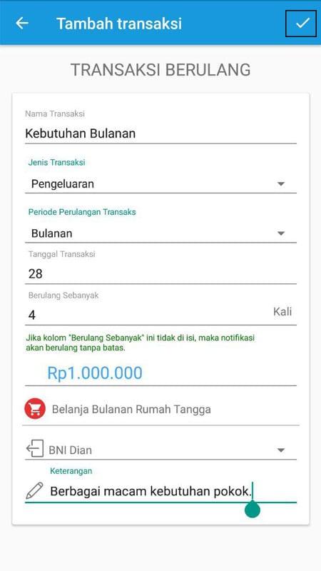 Transaksi Berulang Aplikasi Finansialku 3
