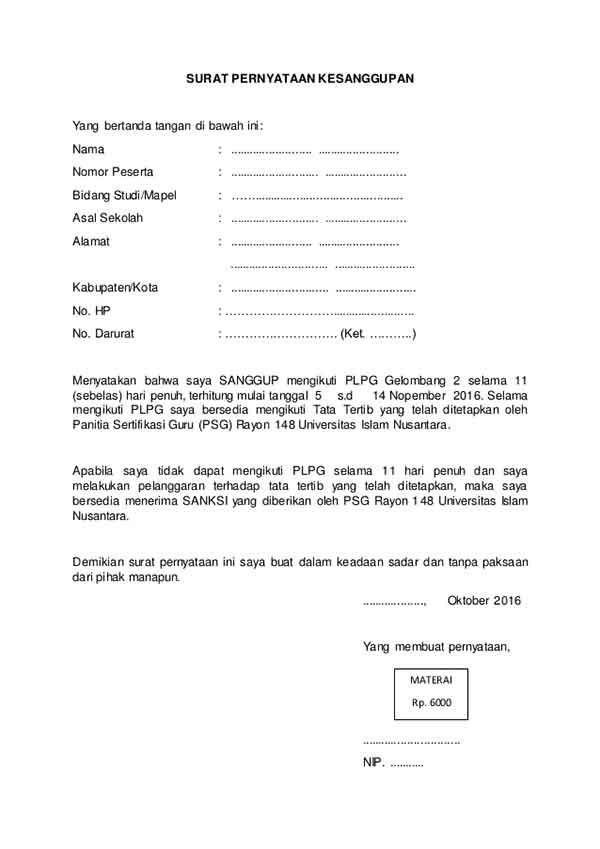 Berikut Ini Contoh Surat Pernyataan yang Benar Serta Pahami Cara Membuatnya! 02 Surat Pernyataan Kesanggupan - Finansialku