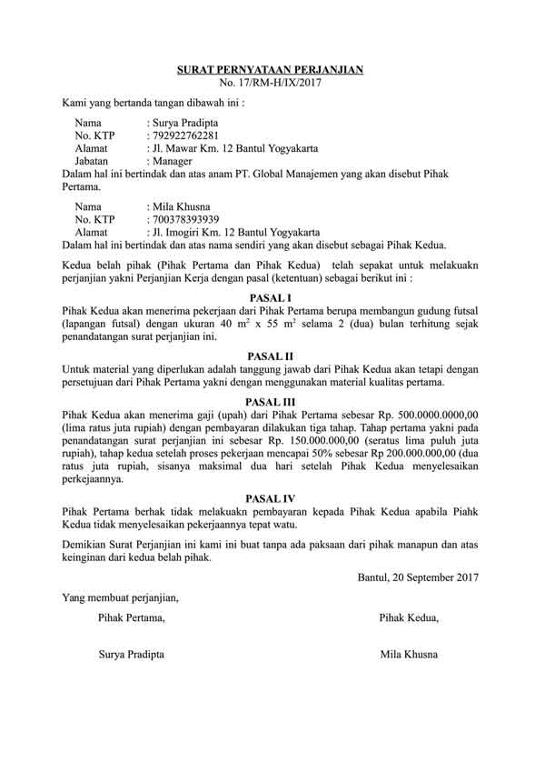 Berikut Ini Contoh Surat Pernyataan yang Benar Serta Pahami Cara Membuatnya! 03 Surat Pernyataan Perjanjian - Finansialku