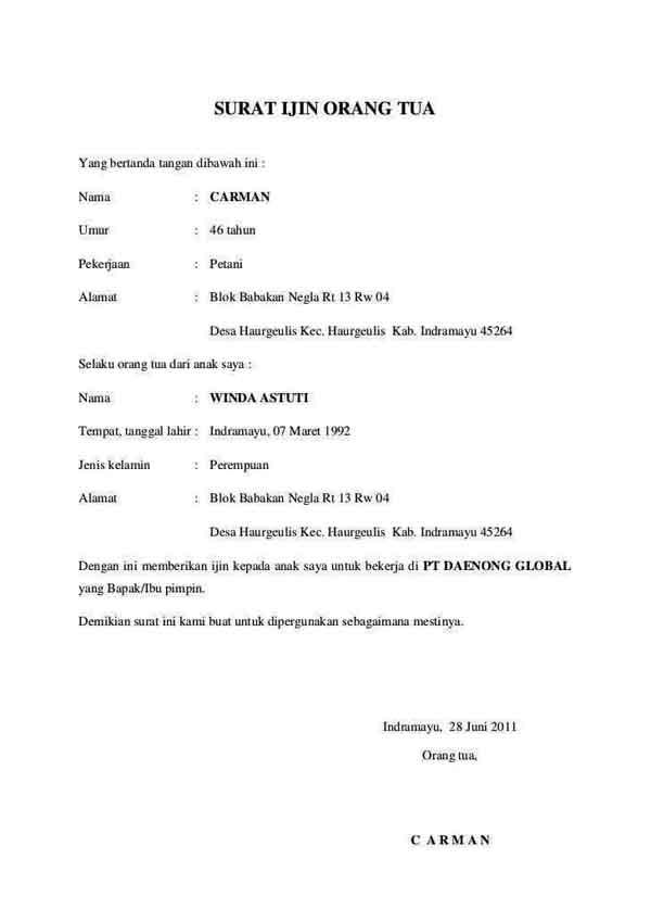 Berikut Ini Contoh Surat Pernyataan yang Benar Serta Pahami Cara Membuatnya! 06 Surat Pernyataan Kerja dari Orang Tua - Finansialku