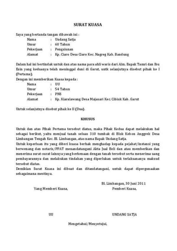 Mau Buat Surat Kuasa Cek Dulu Contoh Surat Kuasa yang Baik dan Benar 05 Surat Kuasa Tanah - Finansialku