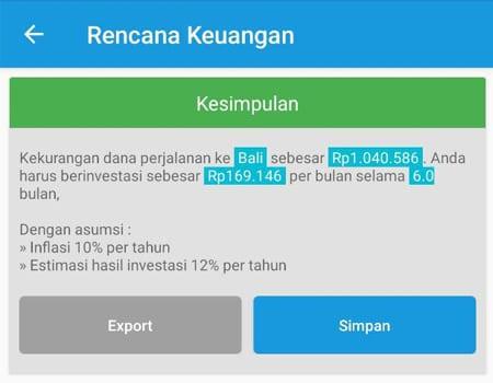 Rencana Keuangan Dana Liburan Aplikasi Finansialku 1