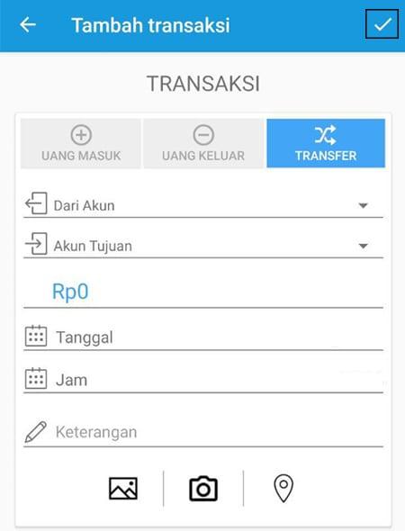 Transaksi Catat Keuangan Transfer Aplikasi Finansialku