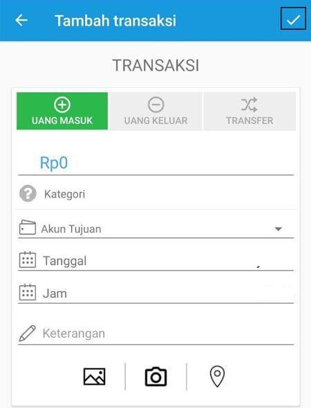 Transaksi Catat Keuangan Uang Masuk Aplikasi Finansialku